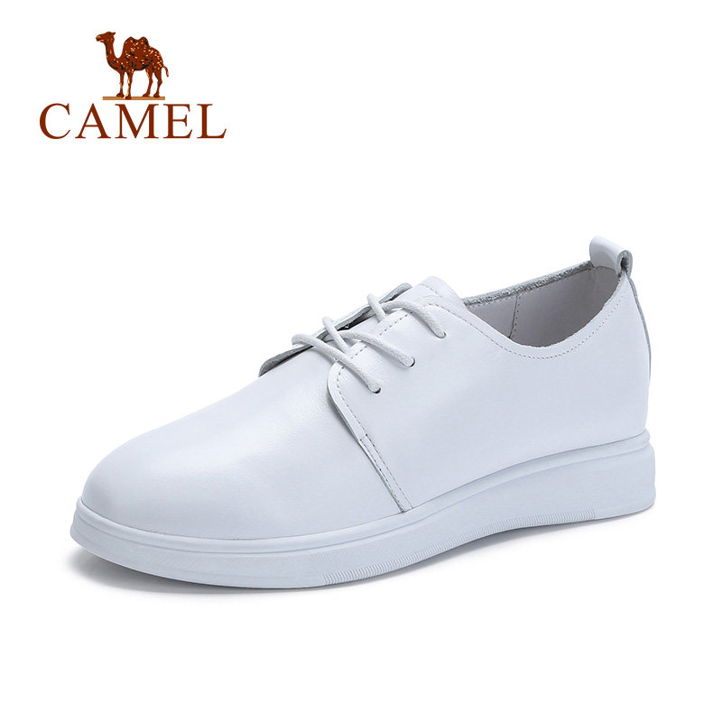 Camel Women's 2018 Spring New Casual Flexible Breathable Lightweight Antiskid Flat Shoes Leather White Shoes A81879612 2017 new spring imported leather men s shoes white eather shoes breathable sneaker fashion men casual shoes