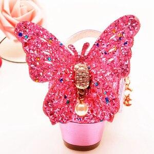 Image 5 - ULKNN/сандалии для девочек; розовые туфли для латинских танцев со стразами и бабочками; От 5 до 13 лет 6; летние туфли принцессы на высоком каблуке для детей 7 лет