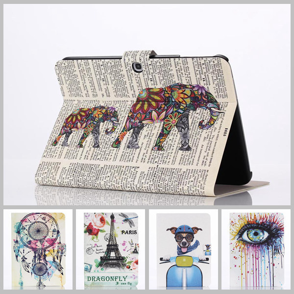 Stained Case For samsung galaxy tab 3 10.1 New Arrival Color Mix PU Leather Flip case Stand Cover For samsung tab 3 10.1 P5200 floveme luxury flip stand case for samsung galaxy tab3 10 1 p5200 tab3 pu leather protective cover pouch bag black for tab 3
