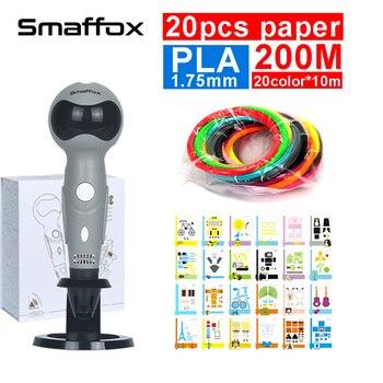 Mais recente caneta impressão 3D, 20 pcs modelo de papel, display LED, robô forma, comando de Voz, tela LED, com 20color * 10 m 1.75mm PLA filamento,