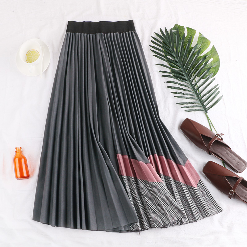 Fall Winter Splicing Velvet Pleated Empire Long Skirt Women Fashion Personality High Waist Multi color Flare