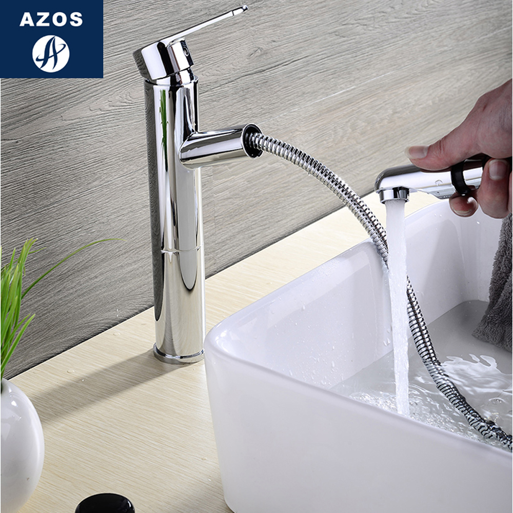 Modern Bathroom Faucet Pull Out Single Handle Swivel Spout Vessel Sink Mixer Tap Brushed Nickel Chrome Polish 2 Color CLMP004Z modern nickel brushed bathroom basin faucet single handle vessel sink mixer tap