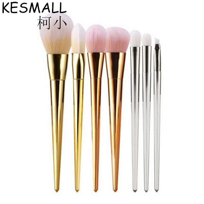 KESMALL 7Pcs Rose Gold Makeup Brush Set Cosmetics Foundation Blending Blush Make Up Tool Powder Eyeshadow Eyes Brushes kit CO285 kesmall 10pcs professional makeup brushes set facial eyebrow eyeshadow powder foundation brush cosmetics make up tools co430