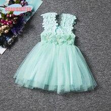 Vintage flor vestido de encaje para niña arco niños fiesta ropa de ceremonias princesa niñas vestido de boda cumpleaños bautizo