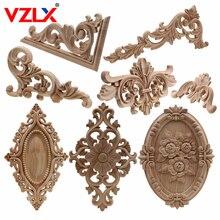 VZLX уникальные натуральные цветочные деревянные резные фигурки, декоративные угловые Аппликации, рамка для стен, дверей, мебели, резьба по дереву