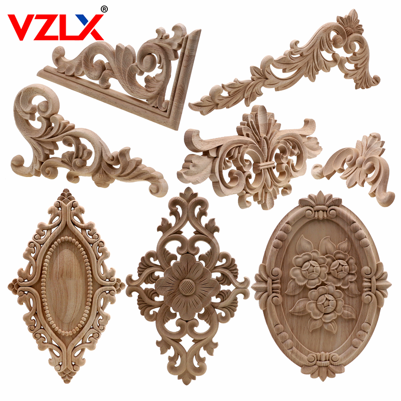 VZLX Unique Natural Floral Wood Carved Wooden Figurines Crafts Corner Appliques Frame Wall Door Furniture Woodcarving Decorative|Figurines & Miniatures| |  - title=