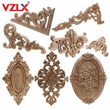 VZLX hecho natural, floral madera tallada figuritas de madera artesanía esquina apliques Marco de puerta de pared de muebles de madera decorativa