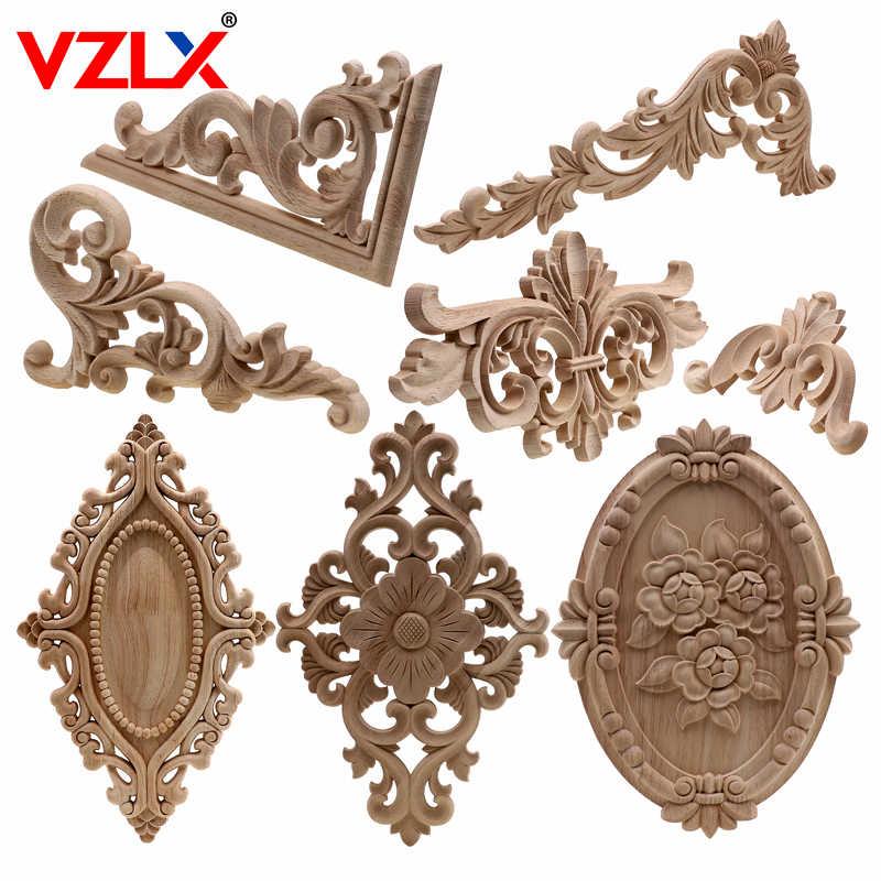 VZLX ייחודי טבעי פרחוני עץ מגולף עץ צלמיות פינת מלאכת אפליקציות מסגרת קיר דלת ריהוט גילוף דקורטיבי