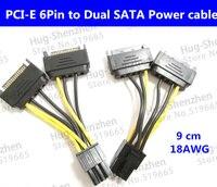 20pcs Lot High Quality Pcie Pci E PCI E 6Pin To Dual SATA Power Cable 18AWG