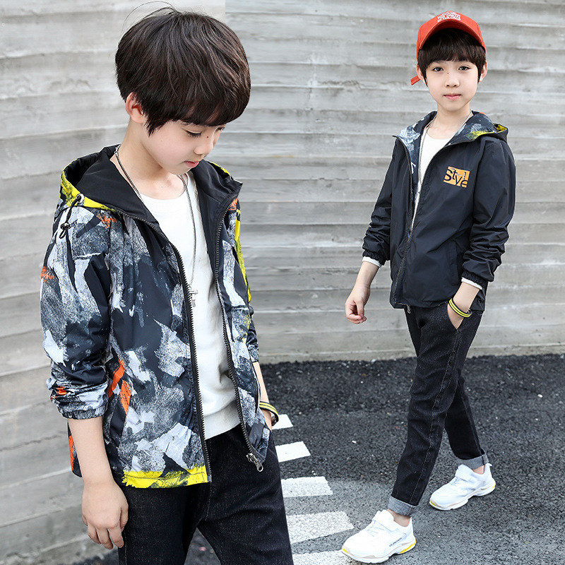 Jackets For Boys 5 13 Years Teenage Clothes Autumn Print Long Sleeve Hooded Kids Outwear Camouflage Kida Jackets