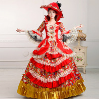 Hot Sale 2018 Red Long Sleeve European Court Banquet Party Dress 18th Century Marie Antoinette Period Performance Ball Gowns