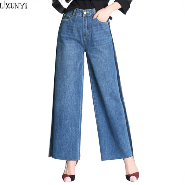 100c053aabb LXUNYI Vintage Wide Leg Pants Women High Waist jeans Plus Size Korean  Washed Bleached Straight Loose Ladies Denim Trousers 8XL