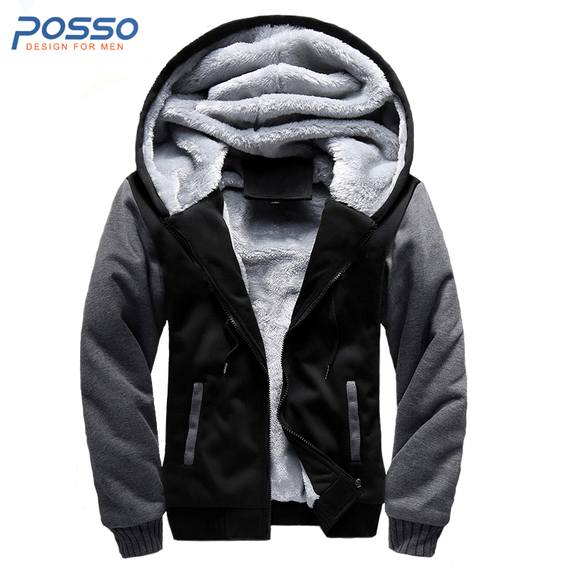 2017 Winter extra warm casual tracksuit mens fur hood jacket classic coat with fur hood for teens male zip hoodie