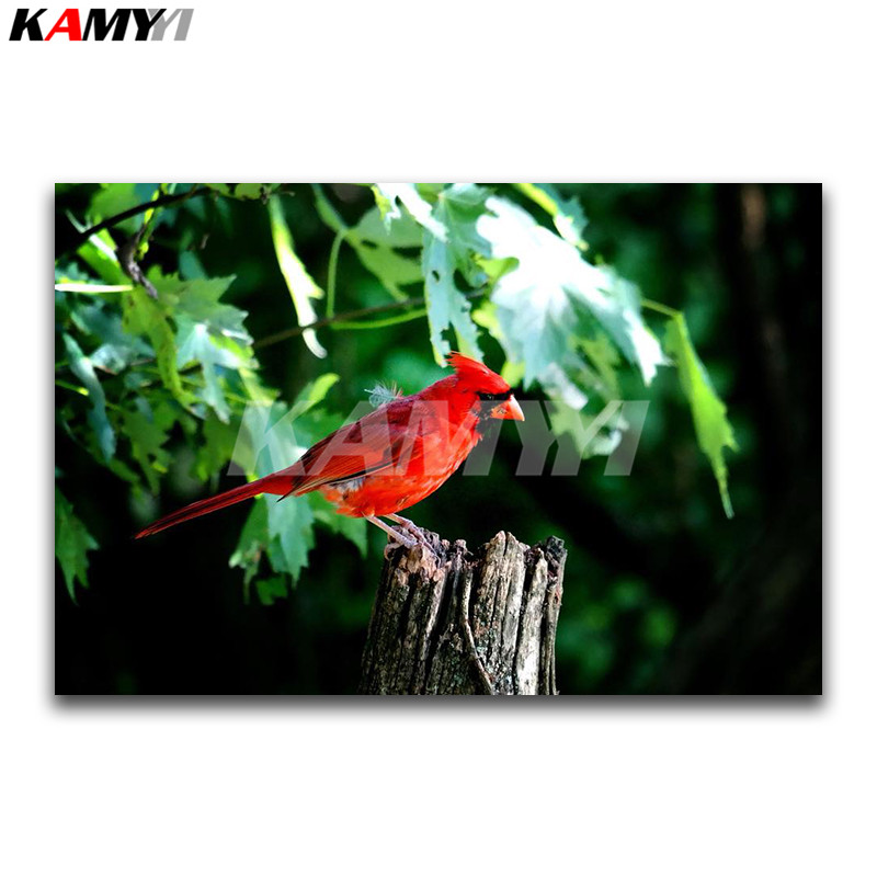 Full Square Diamond embroidery Cross stitch animal Full Round Diamond mosaic Red parrot 3D DIY Diamond painting bird