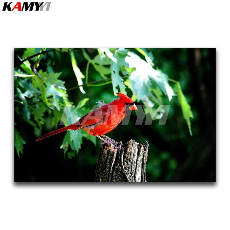 Piazza piena di Diamante ricamo punto Croce animale Pieno di Diamante Rotondo mosaico pappagallo Rosso 3D pittura Diamante DIY uccello