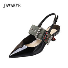 Runway Kitten heels Ribbon Buckle Strap  Patent Leather Slingbacks Crystal Shoes