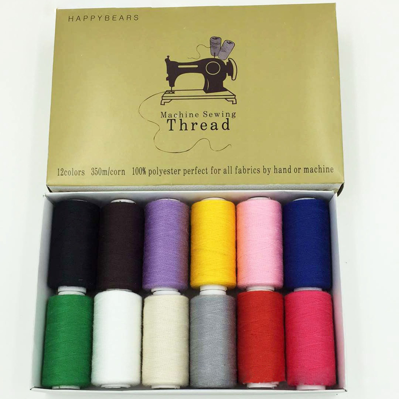 40s/2 polyester Sewing Threads 350 meters High Strength embroidery thread 12pcs/box Sewing Yarn ...