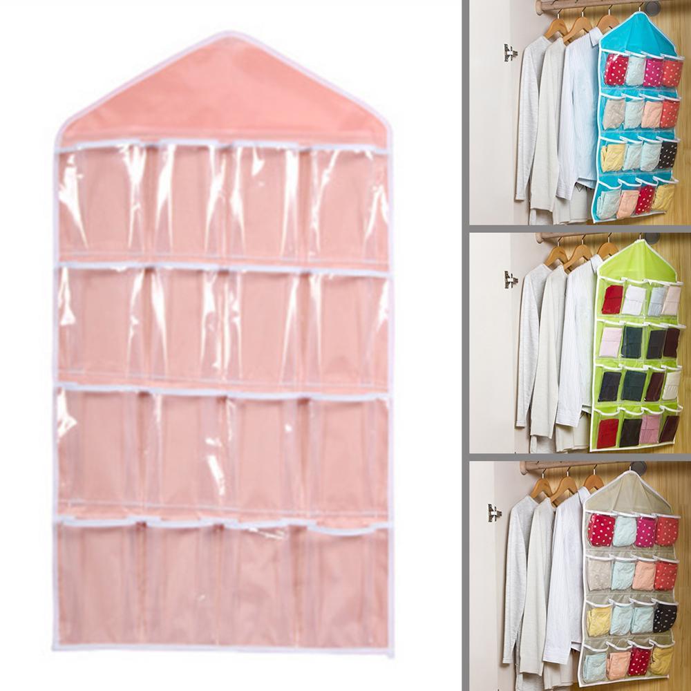 Home 16 Pockets Wall Wardrobe Hanging Organizer Sundries Jewelry Storage Bags Underwear Cosmetics Hanger Organizer