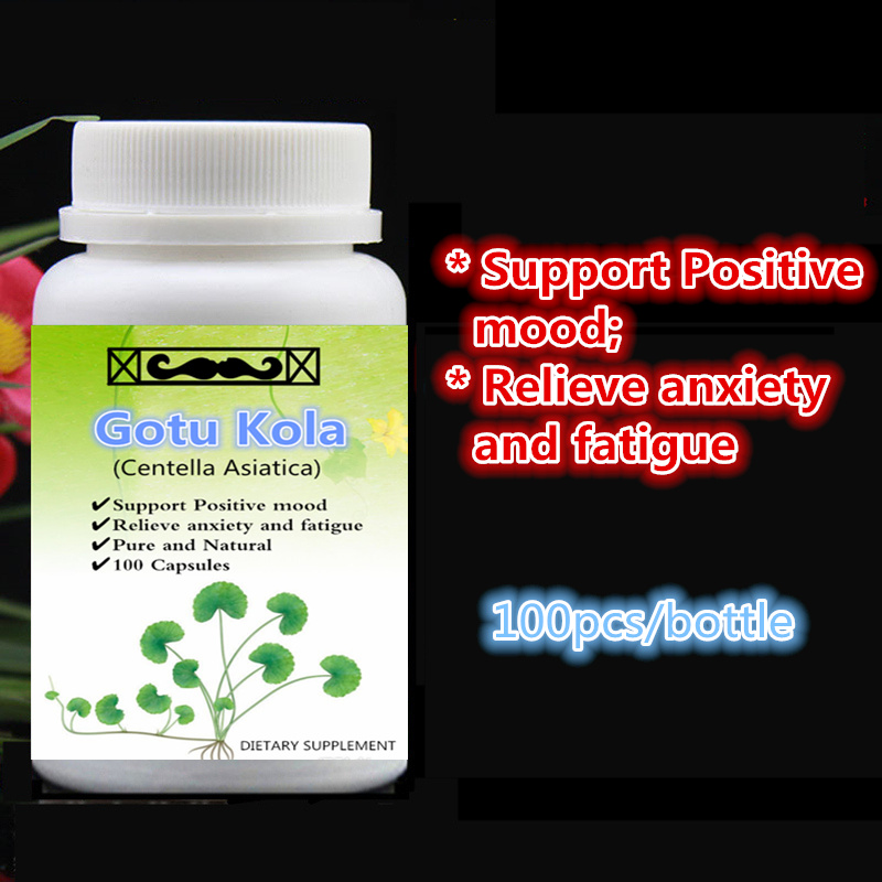 100% Pure Gotu Kola (Centella Asiatica) Extract,Support Positive mood,Relieve anxiety and fatigue,100pcs/bottle,free shipping все цены