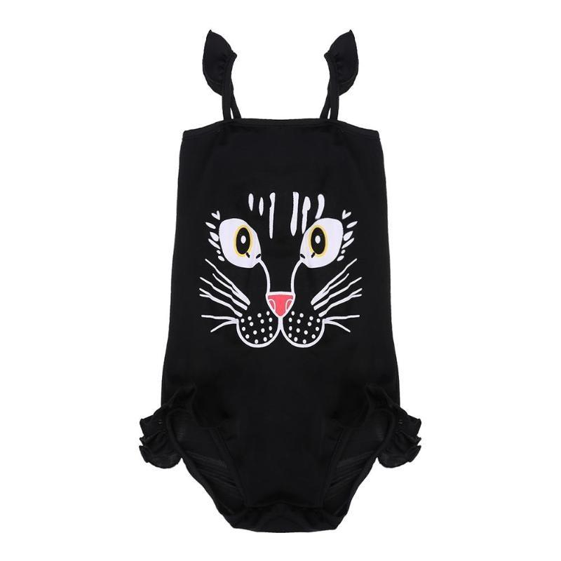 Summer Cartoon Cat Toddler One-Piece Children Swimwear Ruffle Side Girls Bathing Suits Baby Swimming Suit meisje bikini