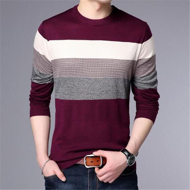 2018 new Men T-Shirt Spring Summer Long Sleeve O-Neck T-Shirt Men Brand Striped shirt Fashion Patchwork Cotton Tee AE88