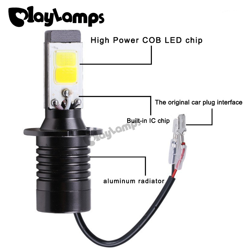 Playlamps 4x H1/H3 Car Headlight Bulbs Dual Color Strong Brighter Golden Led DRL Fog Driving Headlight Lamp Car-styling 6000K 1 set h7 60w 8000lm tri color led headlight csp chips golden yellow white 3000k 4300k 6000k driving fog rainy snowy lamp bulbs