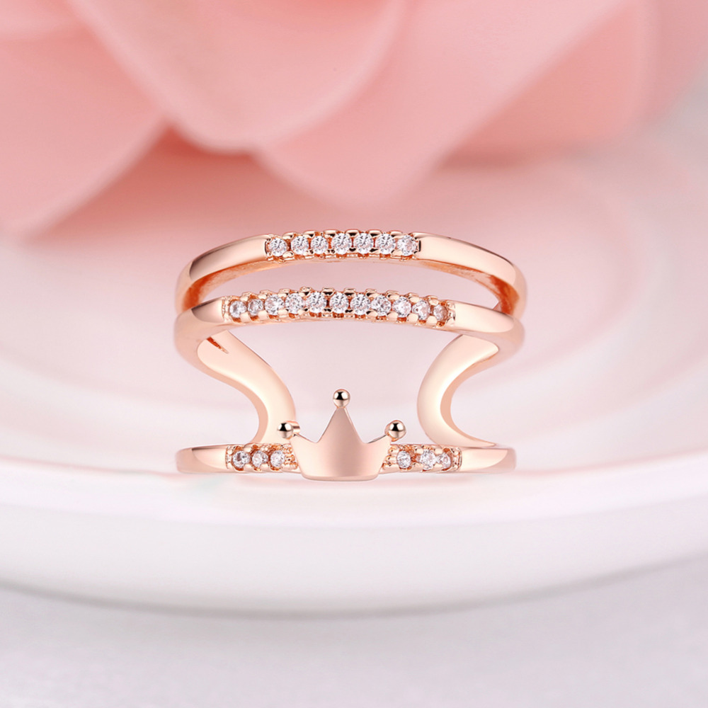 ARUEL Girls Friend Gift Cute Elegant Rose Gold Color Casual Rings ...