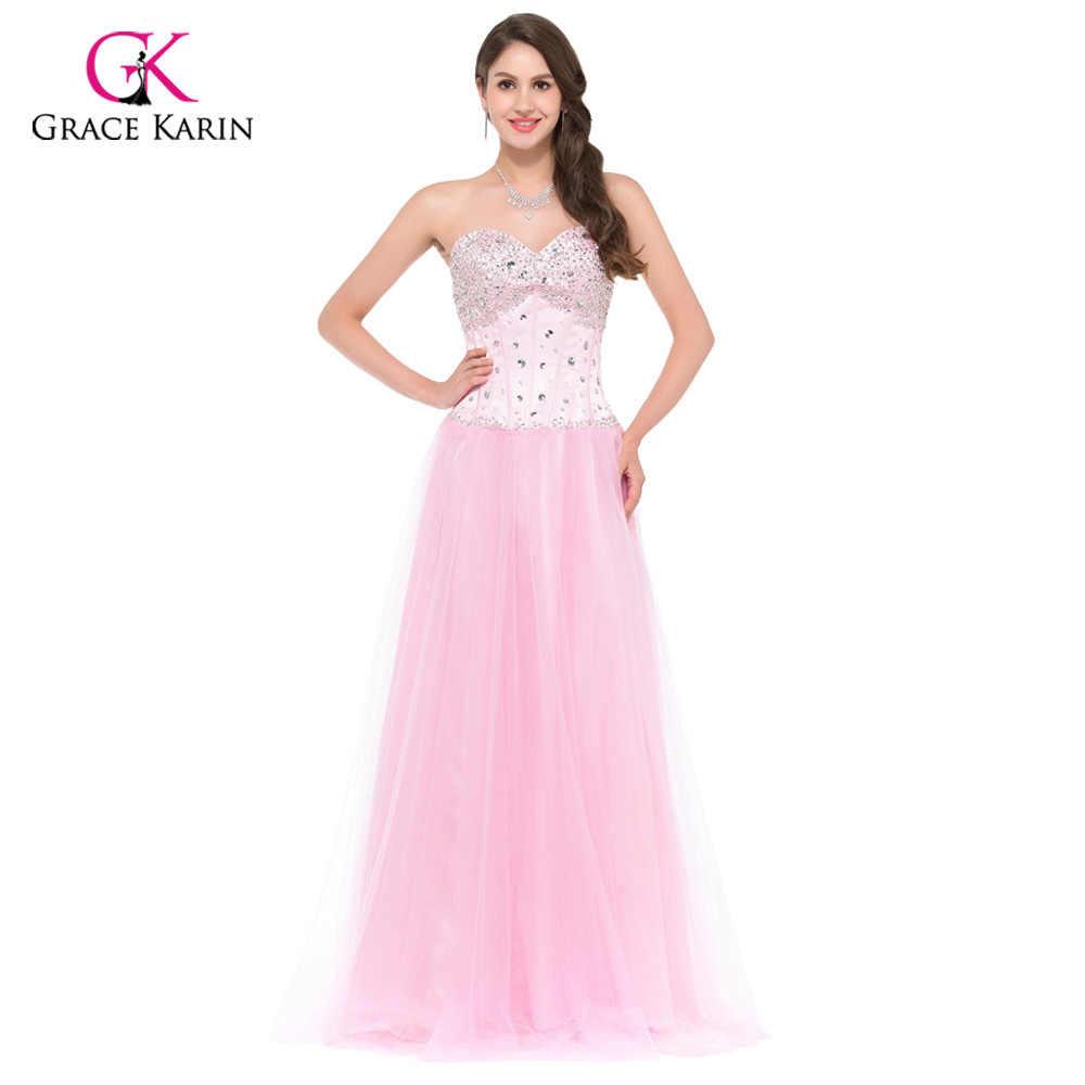 Long Evening Dresses 2018 Grace Karin White Blue Pink Women Corset-style  New Arrival Elegant 14927c5b0fef