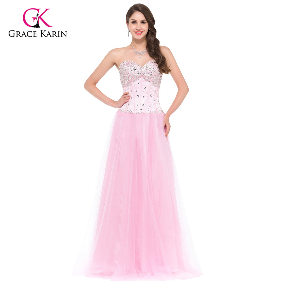 ≧Long Evening Dresses 2018 Grace Karin White Blue Pink Women Corset ...