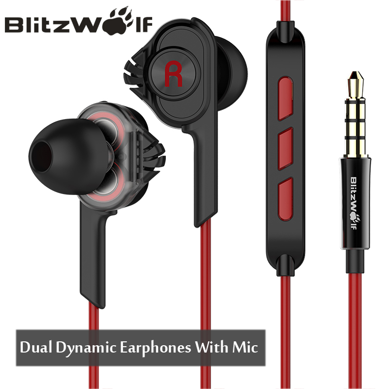 BlitzWolf Earphones Earphone Stereo Earbuds With Microphone 3.5mm Wired In-ear For Xiaomi For iPhone 6s For Samsung Smartphone