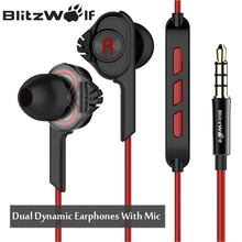 BlitzWolf Earphones Earphone Stereo Earbuds With Microphone 3.5mm Wired In-ear For Xiaomi For iPhone 6s For Samsung Smartphone(China)