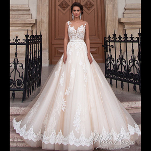 Image 1 - Simple Elegant Amanda Novias Lace A Line Wedding Dress With Belt 2019