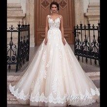 Vestido de novia sencillo elegante de encaje de una línea con cinturón 2019