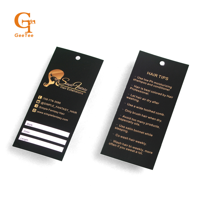 Custom Logo Brand Name Hair Wigs Packaging Paper Price Tags