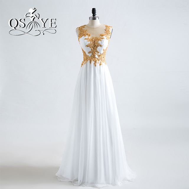 New Fashion White and Gold Long Prom Dresses 2017 Robe de Soiree ...