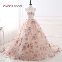 Vivian S Bridal Sweetheart Ball Gown Evening Dress Tank Sleeveless Party Dresses Floral Print Evening Gowns