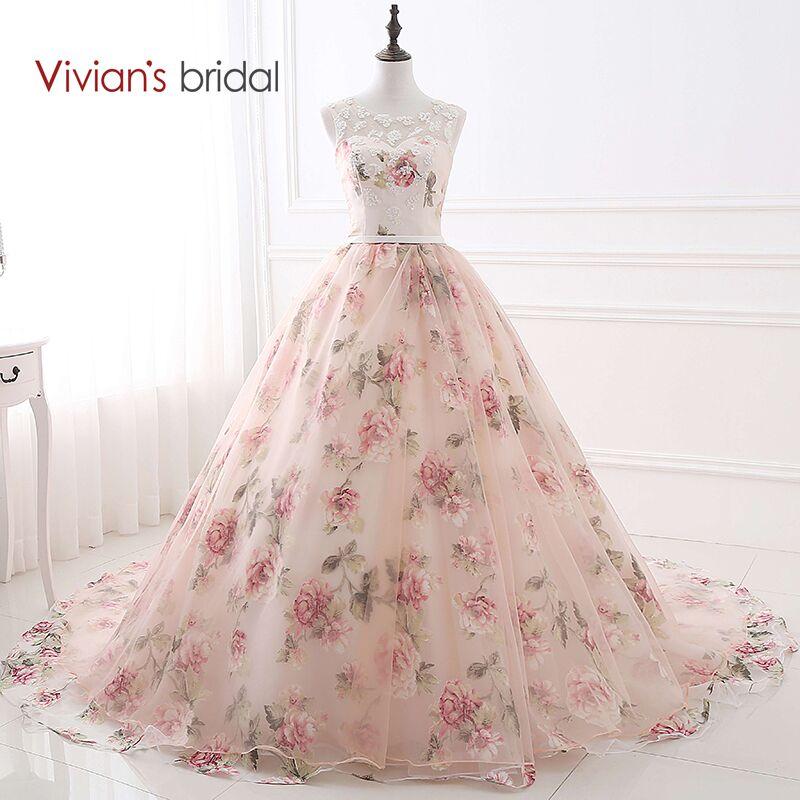 Vintaj pengantin gaun bola gaun malam gaun tangki tanpa lengan renda gaun pesta bunga cetak 2018 gaun malam wanita