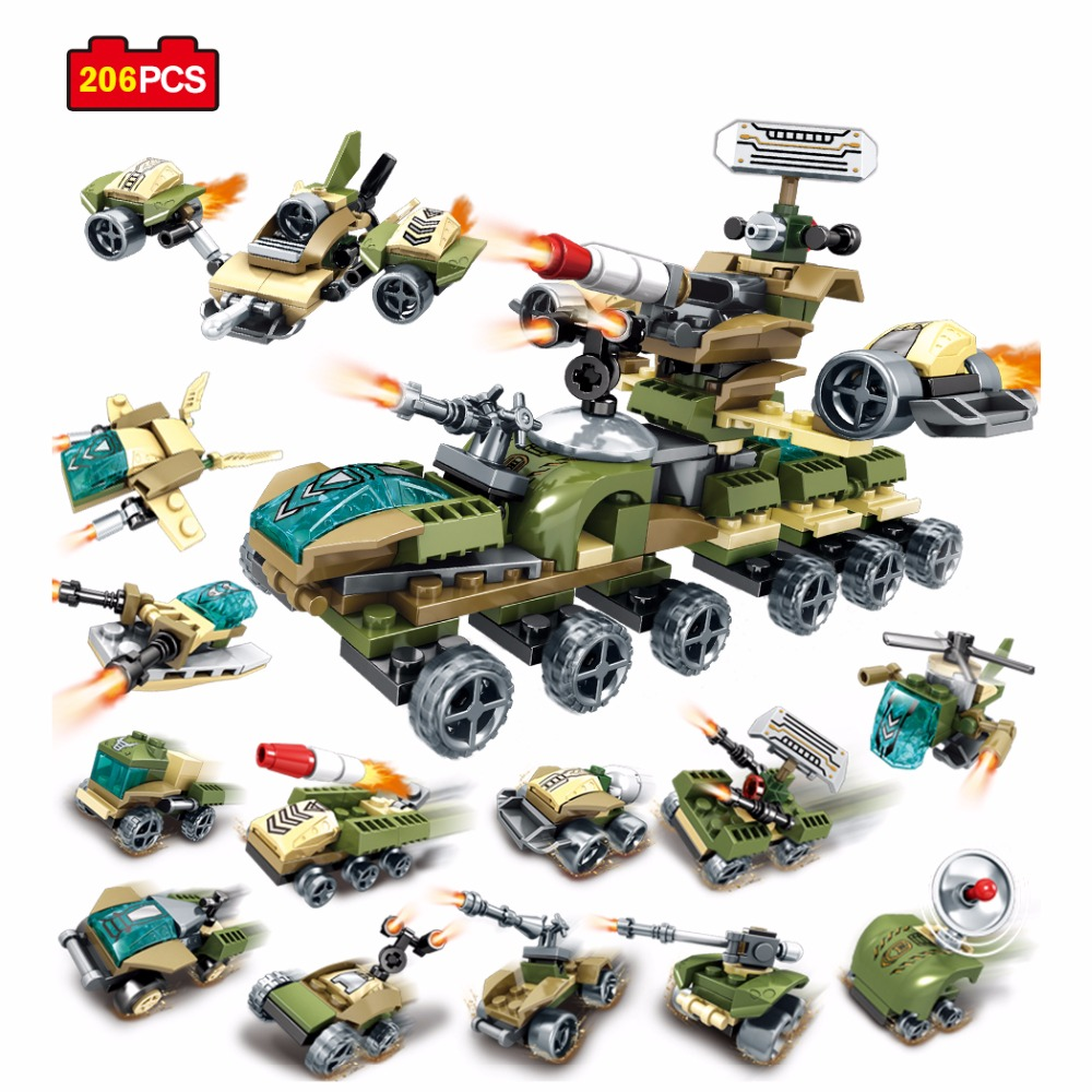 Sembo 12 in 2 Military Building Blocks Educational Toys For Children Gifts DIY Army Tank Helicopter Weapon Compatible Legoe City