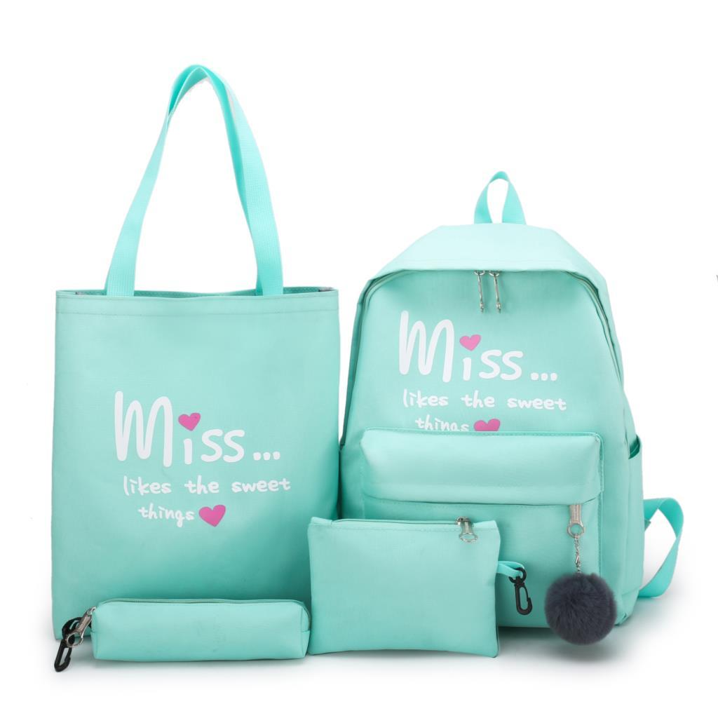 4Pcs/set Women School Backpacks  Nylon Schoolbag For Teenagers Girls Student Book Bag Boys Satchel  Bolsas Mochilas Sac A