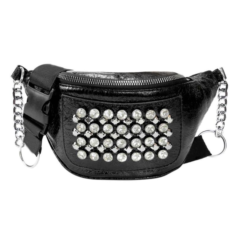 2019 PU Leather Women Fanny Pack Belt Bag Street Rhinestones Rivets Style Waist Bags Travel Shoulder Bag Party Rave Hip Bum Bag