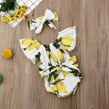 US Toddler Baby Girl Off Shoulder+Headband Outfit Lemon Jumpsuit Clothes