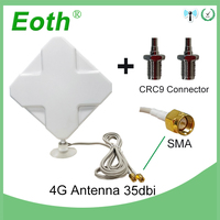5pcs Eoth 4G LTE Antenna SMA 2m 4G Antena 35dBi 2*SMA connector for 4G Modem Router repeater + SMA Female to CRC9 Male connector