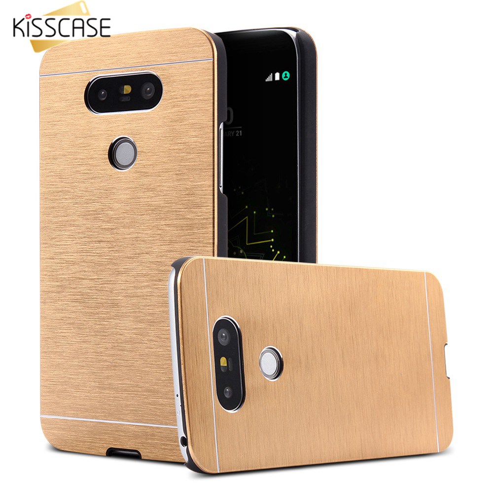 KISSCASE Brosse Métallique Étui Pour LG G2 G3 G4 G5 En Aluminium Dur Couverture De Téléphone Portable Pour LG G5 g4 G3 G2 G1 Capinhas Fundas
