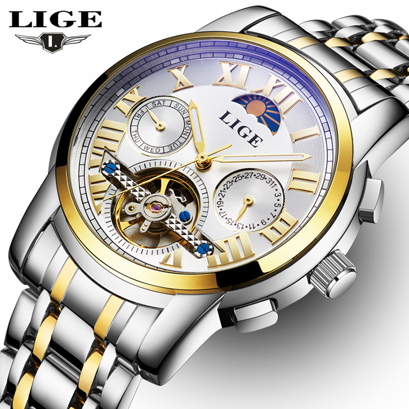 LIGE Mens Moon Phase Tourbillon Mechanical Watches Men Full Steel Watch Man Business Automatic Watches relogio masculino 2016NEW goer watch men full steel automatic mechanical watches men moon phase tourbillon watch men s mechanical watch relogio masculino