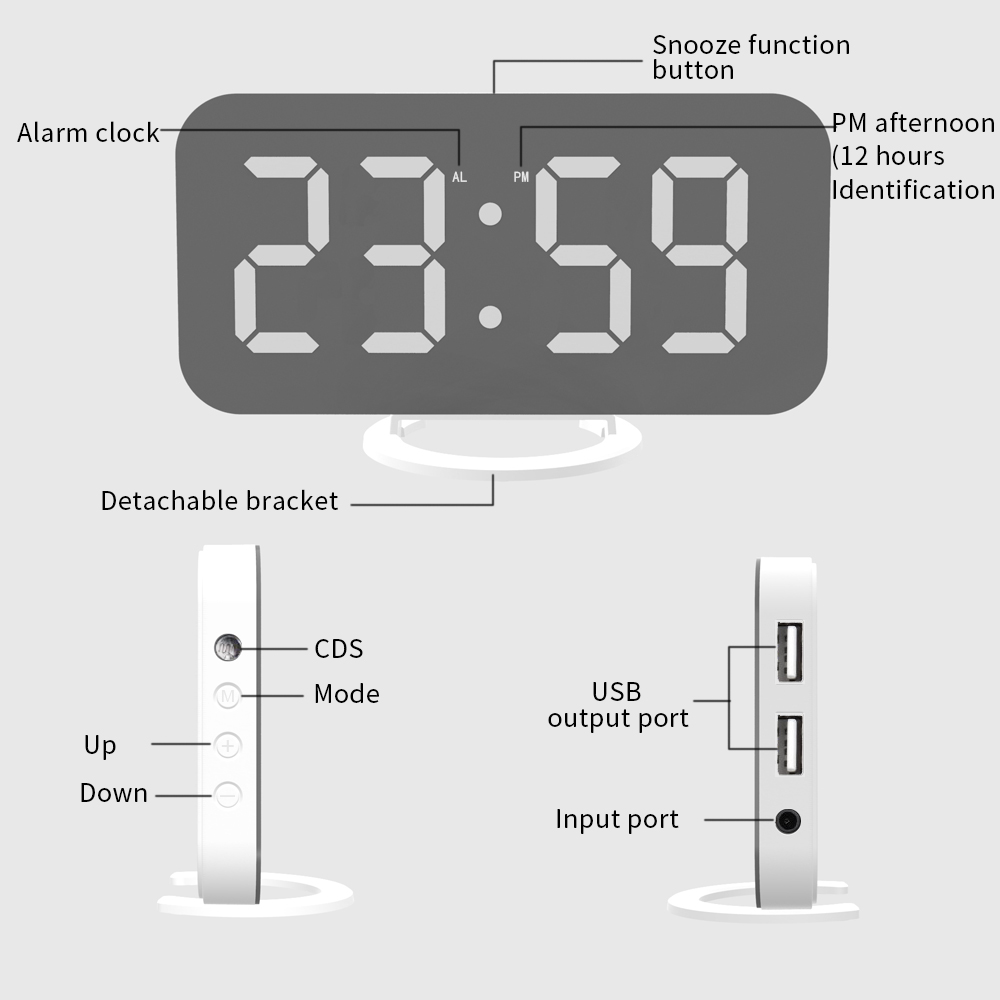 Image 5 - LED Voice Control Large Alarm Clock large number Display nixie Electronic Snooze Backlinght Desktop Digital Table Clocks Watch-in Alarm Clocks from Home & Garden