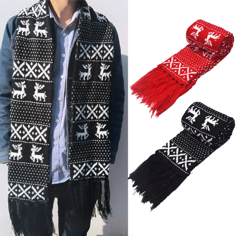 Vintage Christmas Scarf For Men Women 2018 New Unisex Warm Wool Scarves Autumn Winter Fit Lovers Knitting Long Scarf Wraps Gift