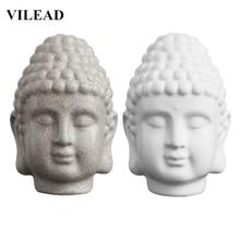 VILEAD 5.9 Sandstone White Buddha Head Figurines Resin Thailand Statue India Religious Sculpture Home Decor