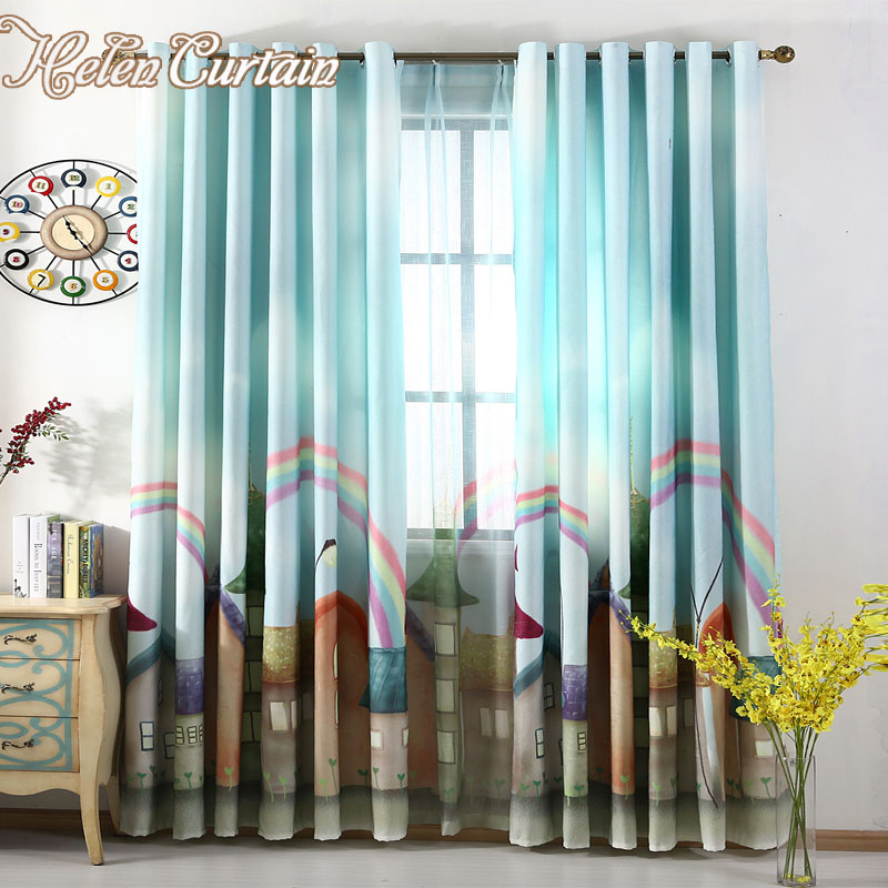 Helen curtain 3d printed rainbow town blackout kids for Kid curtains window treatments