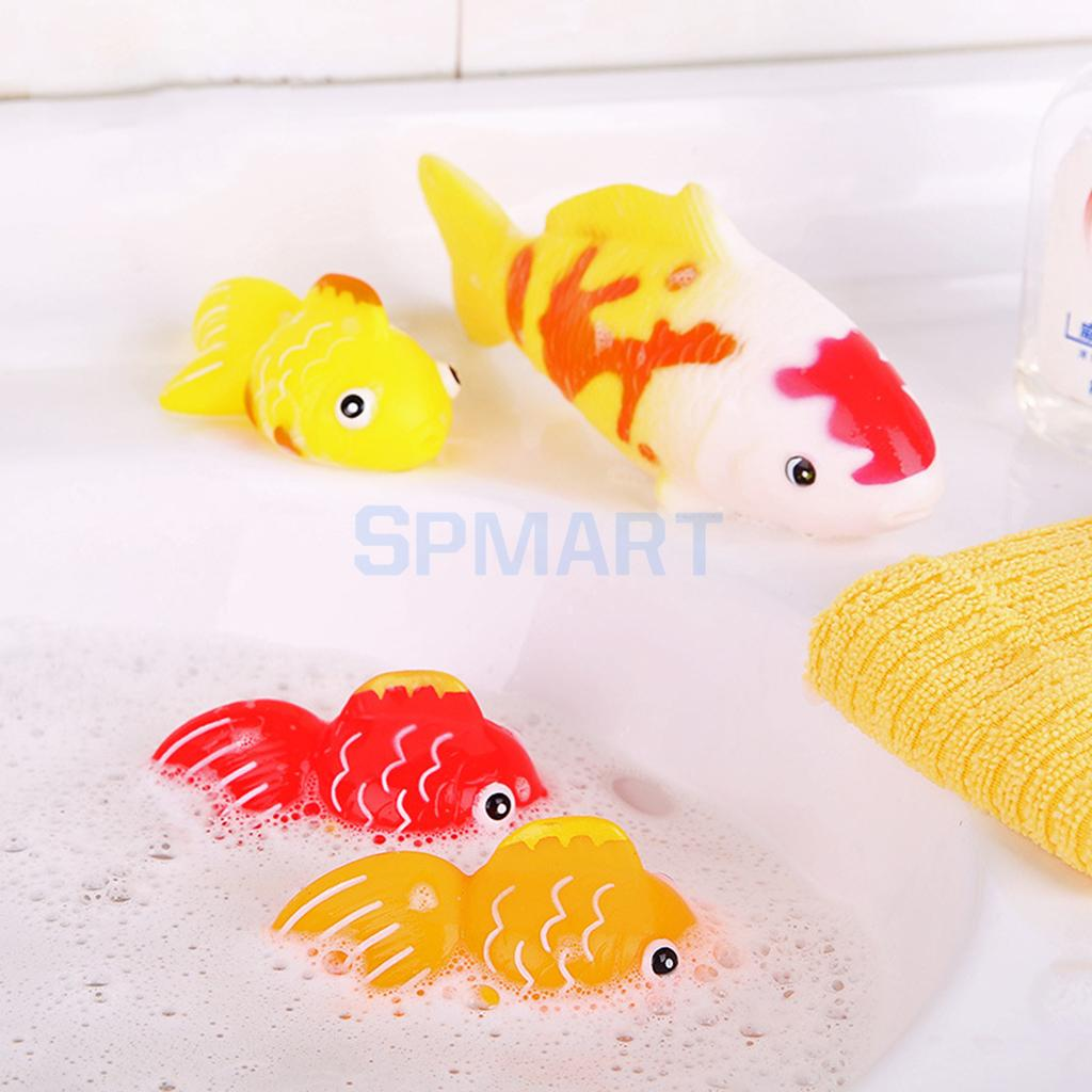 4pcs Floating Soft Rubber Goldfish Animal Bathtub Toy Squeezing Squeaky Bath Water Kid Toddler Baby Play Game