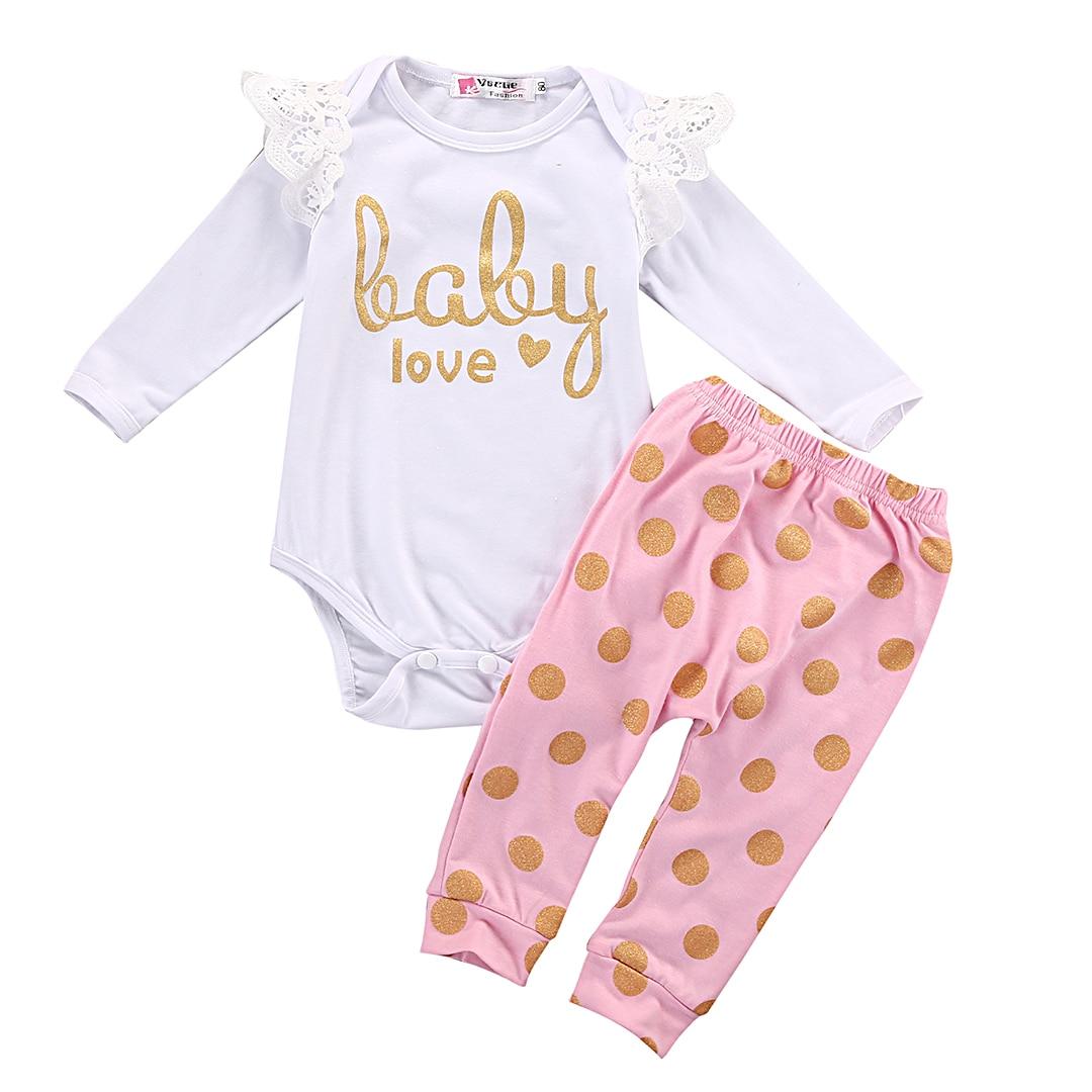 2PCS Newborn Baby Girl Clothes Cute Bebes Cotton Bodysuit Romper Gold Dot Pant Trouser Outfit Bebek Giyim Clothing Set 0-18M